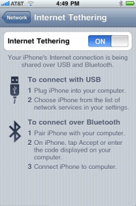 iPhone tethering in action.